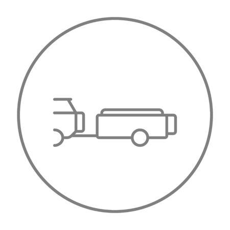 웹, 모바일 및 인포 그래픽에 대한 트레일러 라인 아이콘 자동차입니다. 흰색 배경에 고립 원 벡터 회색 얇은 라인 아이콘입니다.