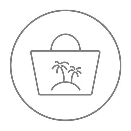 beach bag: Beach bag line icon for web, mobile and infographics. Vector grey thin line icon in the circle isolated on white background.