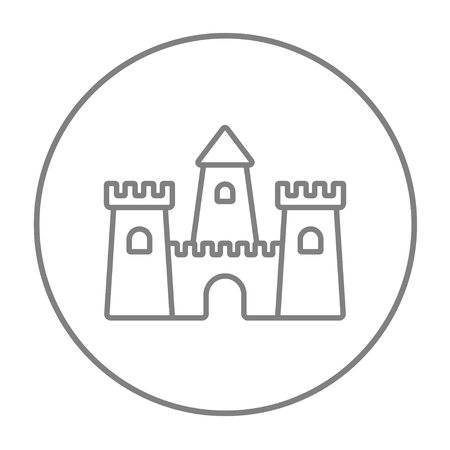 sandcastle: Sandcastle line icon for web, mobile and infographics. Vector grey thin line icon in the circle isolated on white background.