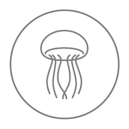 stingers: Jellyfish line icon for web, mobile and infographics. Vector grey thin line icon in the circle isolated on white background.