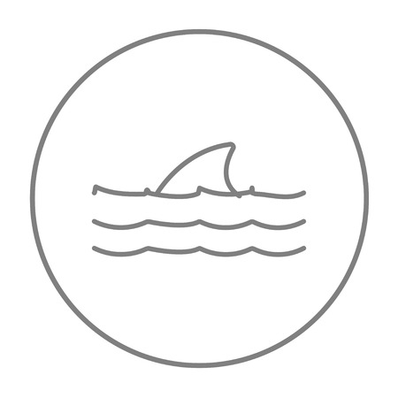 dorsal: Dorsal shark fin above water line icon for web, mobile and infographics. Vector grey thin line icon in the circle isolated on white background.