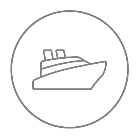 Cruise ship line icon for web, mobile and infographics. Vector grey thin line icon in the circle isolated on white background.