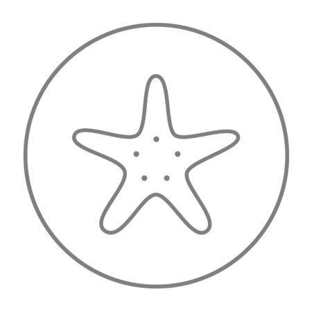 seafish: Starfish line icon for web, mobile and infographics. Vector grey thin line icon in the circle isolated on white background.