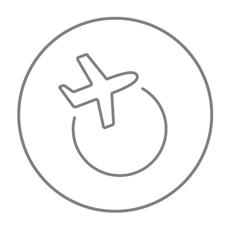 avia: Travel by plane line icon for web, mobile and infographics. Vector grey thin line icon in the circle isolated on white background.