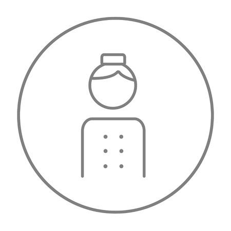 Bellboy Linie Symbol für Web, Mobile und Infografiken. Vector grau dünne Linie Symbol im Kreis auf weißem Hintergrund.