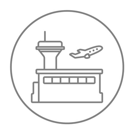 avia: Plane taking off line icon for web, mobile and infographics. Vector grey thin line icon in the circle isolated on white background.