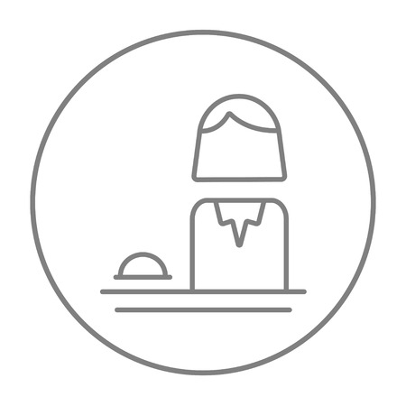femal: Femal receptionist line icon for web, mobile and infographics. Vector grey thin line icon in the circle isolated on white background.
