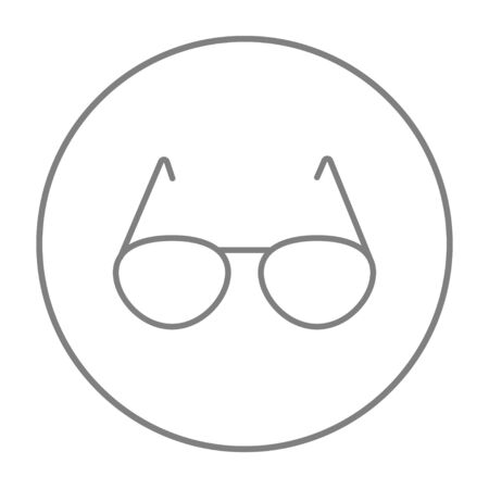 Eyeglasses line icon for web, mobile and infographics. Vector grey thin line icon in the circle isolated on white background.