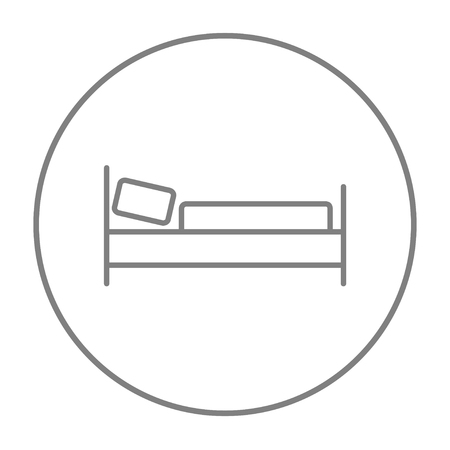 Bed line icon for web, mobile and infographics. Vector grey thin line icon in the circle isolated on white background. 向量圖像