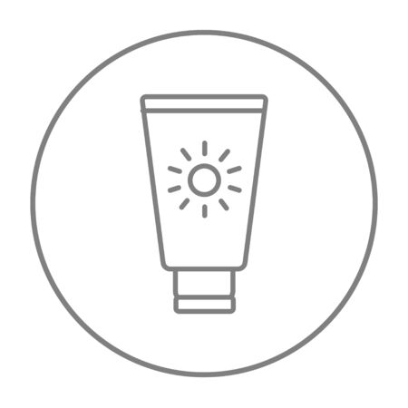 Sunscreen line icon for web, mobile and infographics. Vector grey thin line icon in the circle isolated on white background.