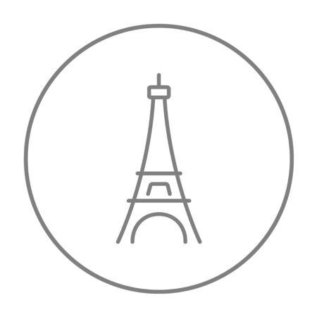 에펠 탑 웹, 모바일 및 infographics 아이콘. 흰색 배경에 고립 된 동그라미에 벡터 회색 선 아이콘을 벡터.