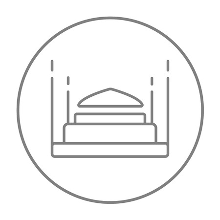 Taj Mahal line icon for web, mobile and infographics. Vector grey thin line icon in the circle isolated on white background. Illustration