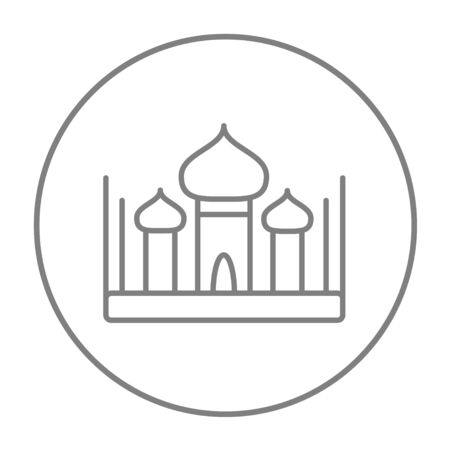 Mosque line icon for web, mobile and infographics. Vector grey thin line icon in the circle isolated on white background. Illusztráció
