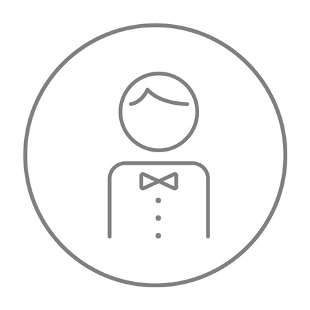 hospitality staff: Waiter line icon for web, mobile and infographics. Vector grey thin line icon in the circle isolated on white background. Illustration