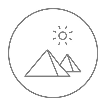 cheops: Egyptian pyramids line icon for web, mobile and infographics. Vector grey thin line icon in the circle isolated on white background.