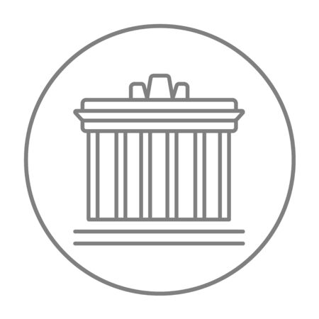 the acropolis: Acropolis of Athens line icon for web, mobile and infographics. Vector grey thin line icon in the circle isolated on white background. Stock Photo