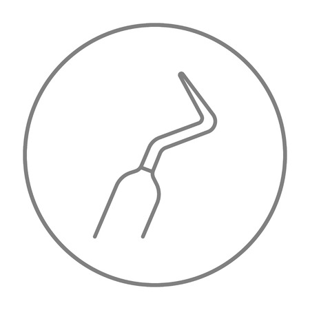 scraper: Dental scraper line icon for web, mobile and infographics. Vector grey thin line icon in the circle isolated on white background. Illustration