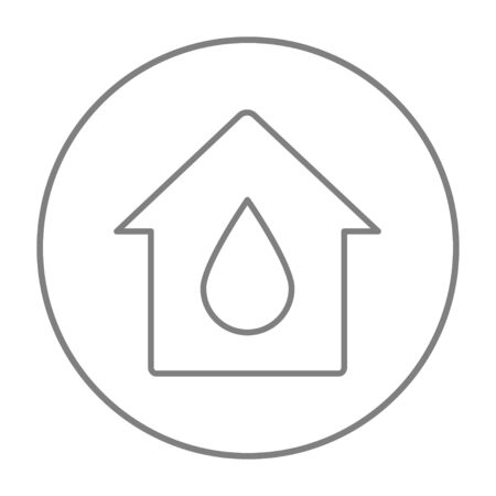 House with water drop line icon for web, mobile and infographics. Vector grey thin line icon in the circle isolated on white background.