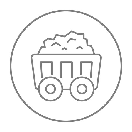 Mining coal cart line icon for web, mobile and infographics. Vector grey thin line icon in the circle isolated on white background. Illustration