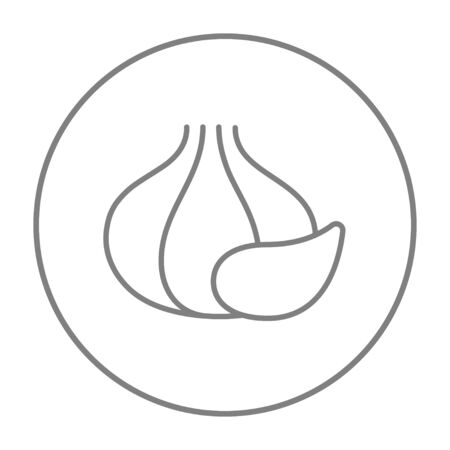 husks: Garlic line icon for web, mobile and infographics. Vector grey thin line icon in the circle isolated on white background.