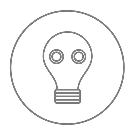 Gas mask line icon for web, mobile and infographics. Vector grey thin line icon in the circle isolated on white background.