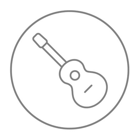 tense: Acoustic guitar line icon for web, mobile and infographics. Vector grey thin line icon in the circle isolated on white background. Stock Photo