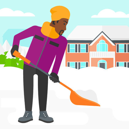 An african-american man shoveling and removing snow in front of house vector flat design illustration. Square layout.