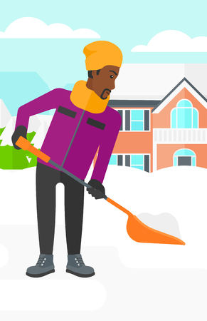 An african-american man shoveling and removing snow in front of house  vector flat design illustration. Vertical layout. Иллюстрация
