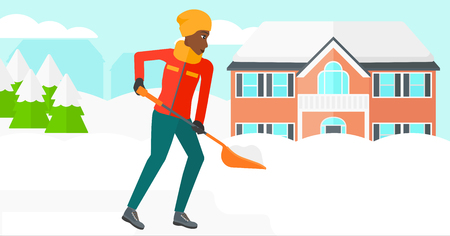 An african-american woman shoveling and removing snow in front of house  vector flat design illustration. Horizontal layout.