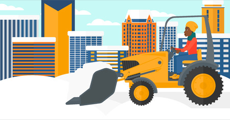 removing: An african-american woman driving a bulldozer removing snow on a city background vector flat design illustration. Horizontal layout.