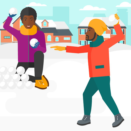 An african-american men playing in snowballs outdoors on city background vector flat design illustration. Square layout.