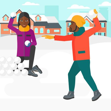 african american couple: An african-american man and woman playing in snowballs outdoors on city background vector flat design illustration. Square layout.