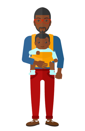 young family: An african-american man carrying a baby in sling vector flat design illustration isolated on white background.