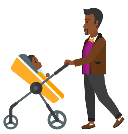 african american family: An african-american father walking with a baby stroller vector flat design illustration isolated on white background.