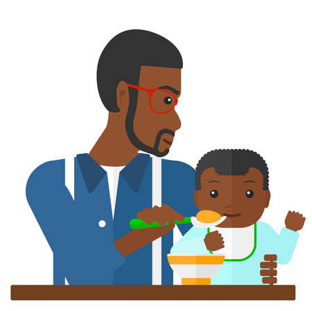 african american family: An african-american dad holding a spoon and feeding baby vector flat design illustration isolated on white background.