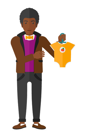 family human: An african-american man holding clothes for baby vector flat design illustration isolated on white background.