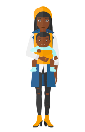 black family: An african-american woman holding baby in sling vector flat design illustration isolated on white background.