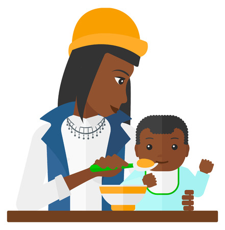 african american family: An african-american mother holding a spoon and feeding baby vector flat design illustration isolated on white background. Illustration