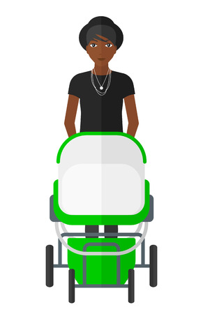 mother and baby: An african-american mother walking with a baby stroller vector flat design illustration isolated on white background. Illustration