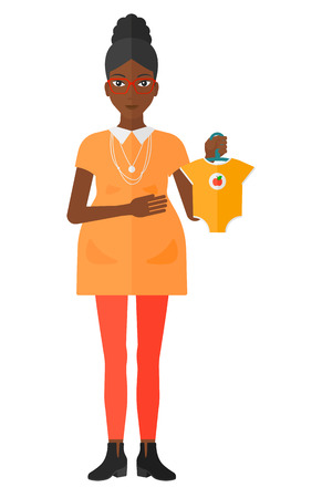 maternal: An african-american pregnant woman holding clothes for her baby vector flat design illustration isolated on white background.