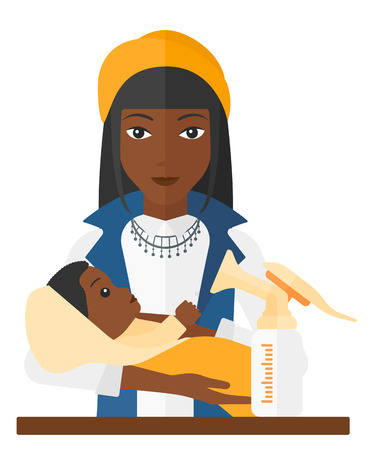 An african-american woman holding a newborn baby and a breast pump standing on the table in front of her vector flat design illustration isolated on white background.