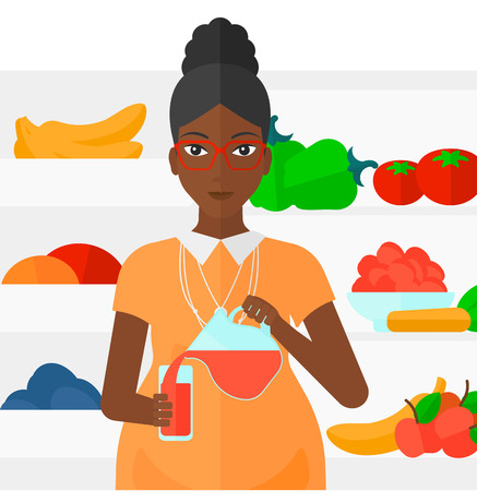An african-american pregnant woman standing near refrigerator and pouring juice in a glass vector flat design illustration isolated on white background.
