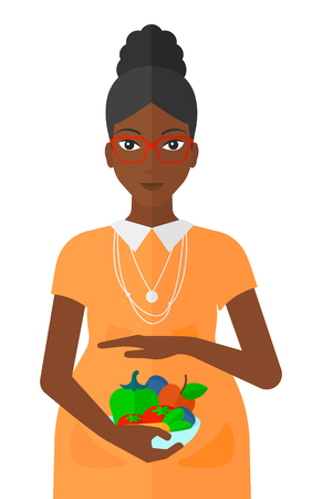 An african-american pregnant woman holding a bowl with vegetables vector flat design illustration isolated on white background. Ilustrace