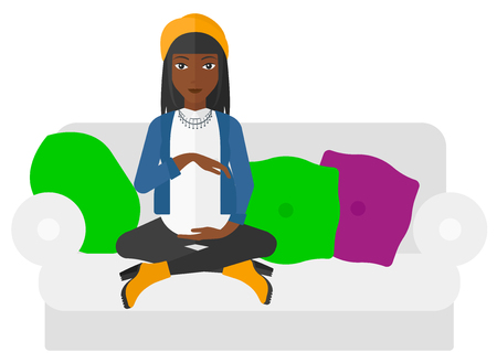expectant: An african-american pregnant woman sitting on a sofa vector flat design illustration isolated on white background. Illustration