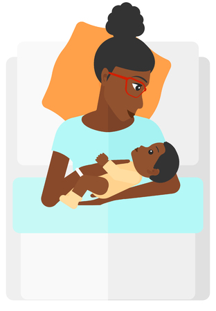 woman lying in bed: An african-american woman lying in bed with a newborn baby in a maternity ward vector flat design illustration isolated on white background.