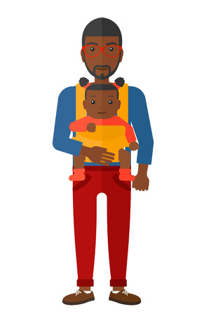 family man: An african-american man carrying a baby in sling vector flat design illustration isolated on white background.