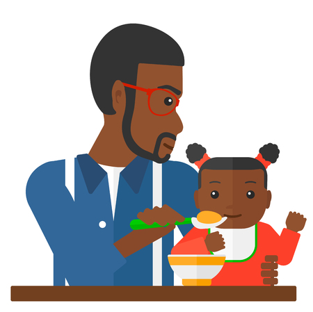african american infant: An african-american dad holding a spoon and feeding baby vector flat design illustration isolated on white background.