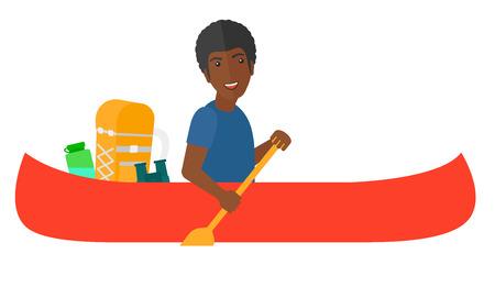 segurar: Um homem Africano-Americano montando em canoa com um scull nas mãos e algum equipamento turístico atrás dele ilustração projeto do vetor plana isolada no fundo branco. Ilustração