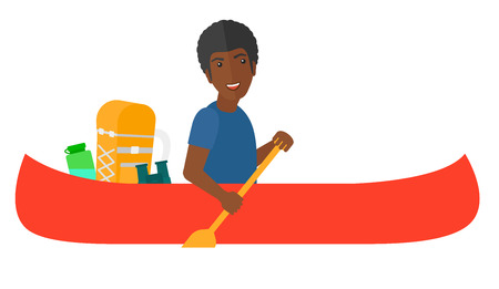 An african-american man riding in canoe with a scull in hands and some touristic equipment behind him vector flat design illustration isolated on white background.