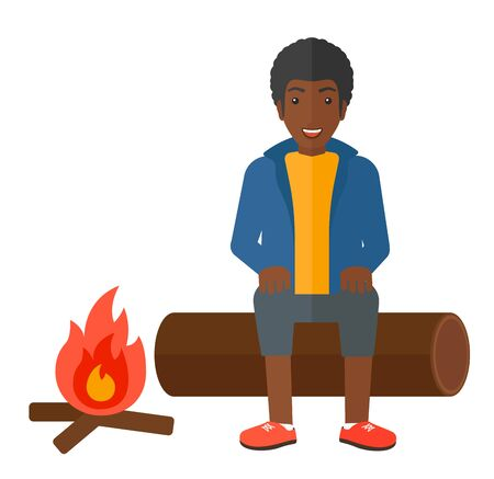 restful: An african-american man sitting on a log at camp near the fire vector flat design illustration isolated on white background.